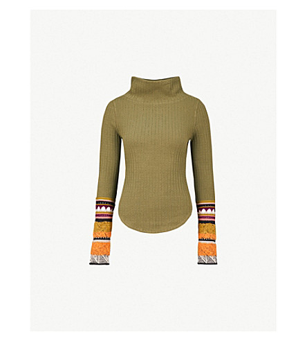 a7f6cc45f66954 FREE PEOPLE Mixed Up cotton-blend turtleneck jumper (Moss