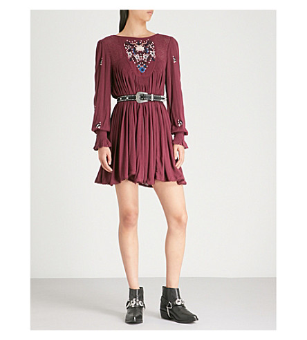 FREE PEOPLE Mohave embroidered woven mini dress (Plum