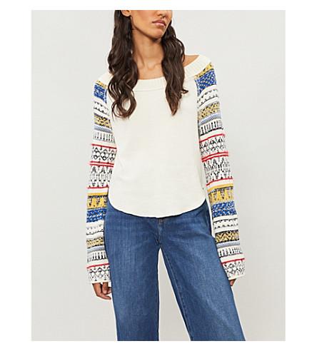 FREE PEOPLE Vintage-intarsia cotton-blend jumper (Ivory