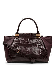 LANVIN Trilogy croc-embossed leather tote