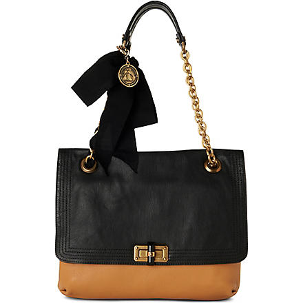 LANVIN Happy medium shoulder bag (Noir/beige