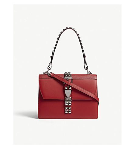 PRADA Studded large leather shoulder bag (Red/black