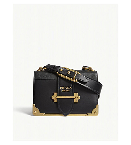 PRADA Cahier leather shoulder bag (Black/gold