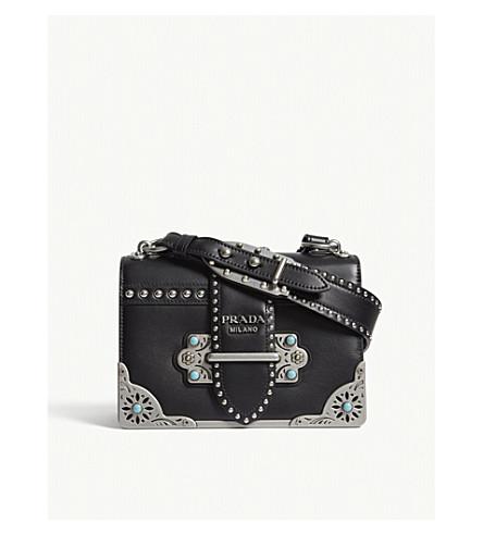 PRADA Cahier studded leather shoulder bag (Black/black