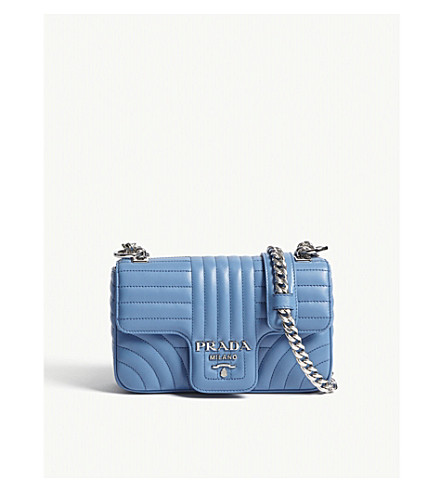 PRADA Quilted leather shoulder bag (Bright+blue