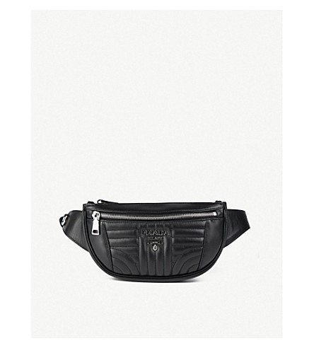 PRADA Diagramme quilted leather bum bag (Black