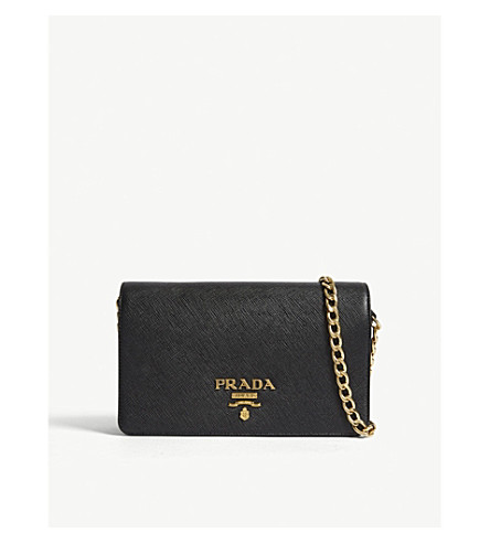 PRADA Core Saffiano leather wallet-on-chain (Black