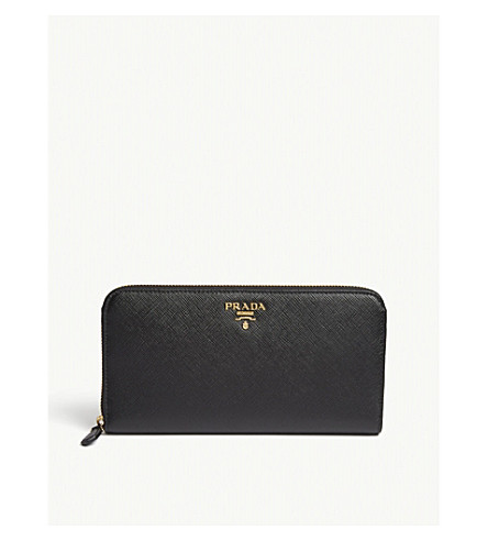 PRADA Logo Saffiano leather continental wallet (Black