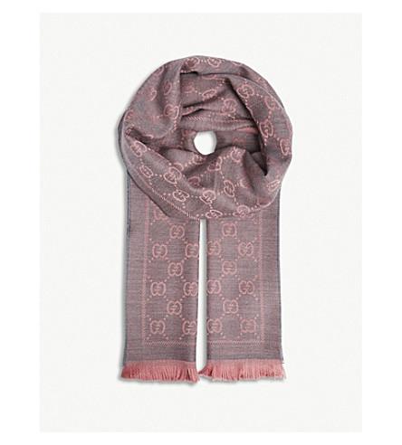 GUCCI GG logo wool scarf (Graphite+pink