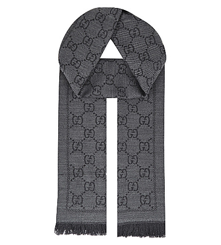 GUCCI GG logo wool scarf (Grey+black
