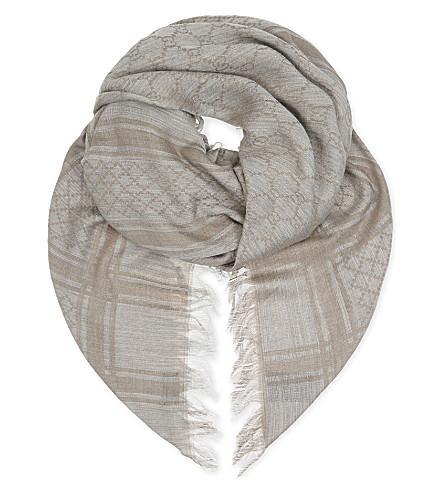 GUCCI Logo scarf (Blue+grey