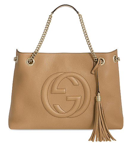 GUCCI Soho leather tote (Camelia+beige