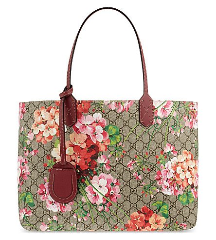 GUCCI Reversible floral logo leather shopper bag (Multi+pink