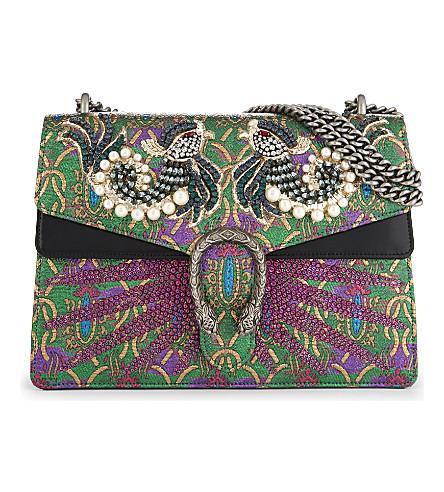 GUCCI Dionysus embroidered leather shoulder bag (Gold+multi