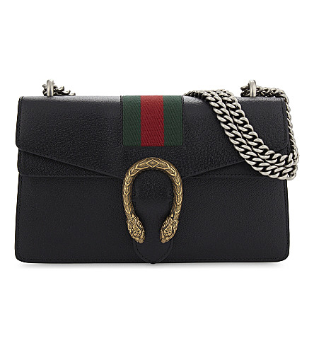GUCCI Dionysus web stripe small leather shoulder bag (Black