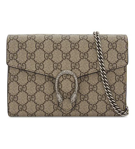 GUCCI 酒神 GG 至尊 wallet-on-chain (米色 + 黑色