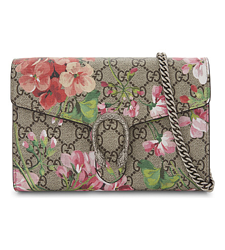 GUCCI Dionysus GG Supreme floral-print wallet-on-chain (Blooms+pink