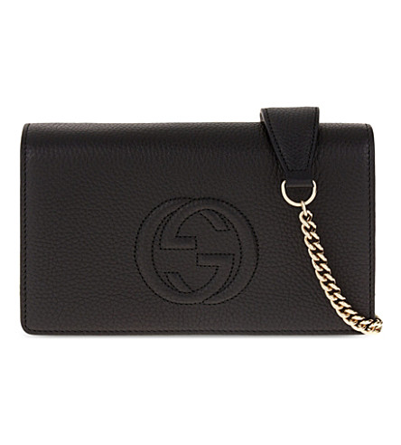 GUCCI Soho pebbled leather shoulder bag (Black
