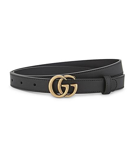 GUCCI GG buckle slim leather belt (Nero