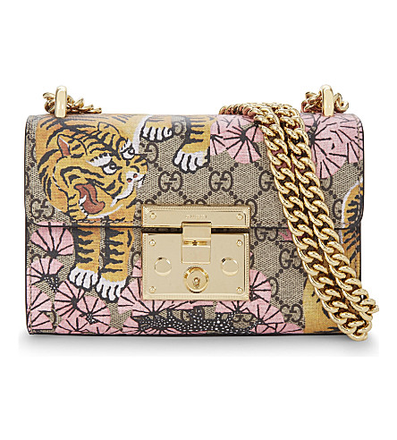 GUCCI Padlock small GG Supreme cross-body bag (Beige yellow pink