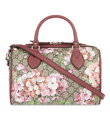 GUCCI Floral print canvas bowling bag (Pink+multi