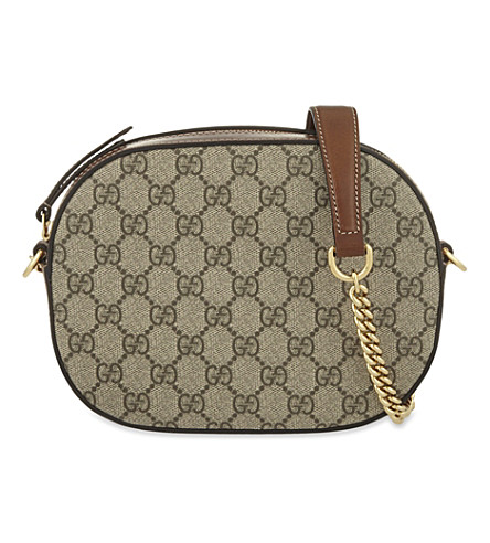 GUCCI Canvas logo print cross-body bag (Beige+ebony