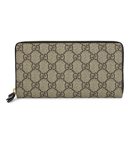 GUCCI Zip-around purse (Beige+w+black