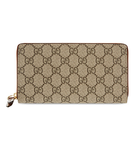 GUCCI GG logo printed leather purse (Beige+ebony