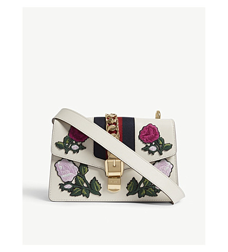 GUCCI Sylvie Peony small leather shoulder bag (White+pink