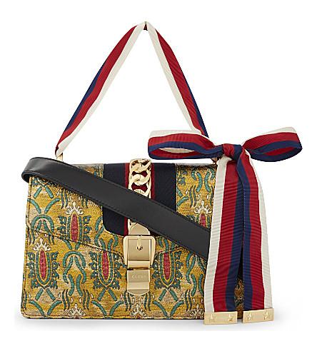GUCCI Sylvie leather shoulder bag (Gold+multi