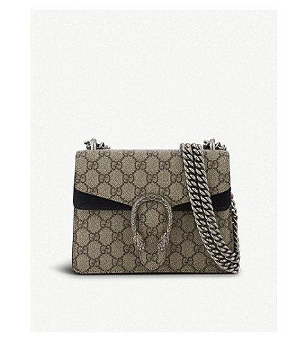 GUCCI Dionysus Supreme GG canvas and suede shoulder bag (Beige+black