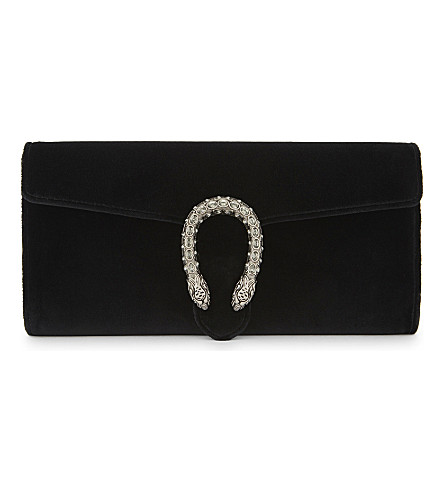 GUCCI Dionysus velvet clutch bag (Black