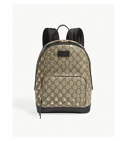 GUCCI Bee GG Supreme backpack (Beige