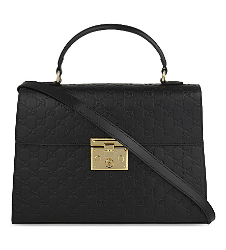 GUCCI Embossed leather signature padlock tote (Black