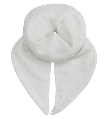 GUCCI Double G wool and silk blend scarf (White