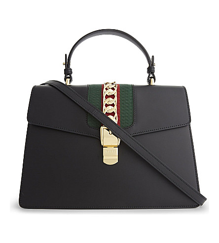 GUCCI Sylvie medium leather shoulder bag (Black