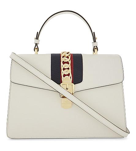 GUCCI Sylvie medium leather shoulder bag (White