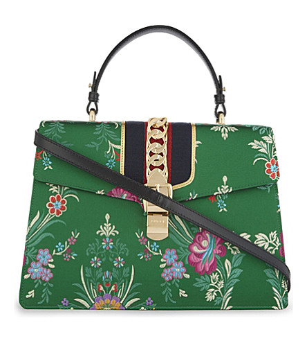 GUCCI Sylvie leather top handle shoulder bag (Green+multi