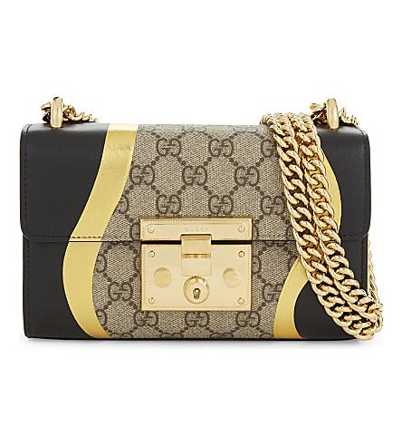 GUCCI Padlock small leather cross-body bag (Black+gold