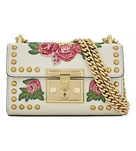 GUCCI Embroidered leather cross-body bag (White+pink