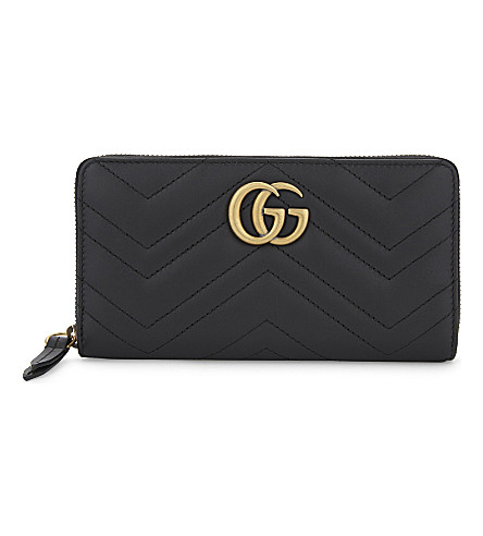 GUCCI Marmont GG leather zip-around wallet (Black