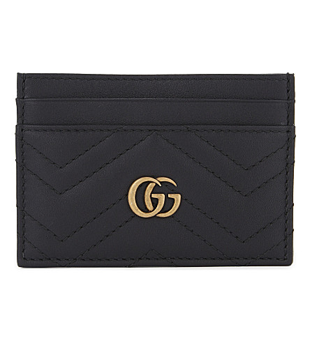 GUCCI GG Marmont leather card holder (Black
