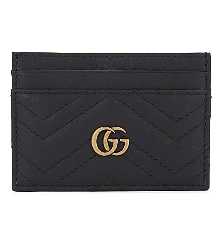 GUCCI GG Marmont 皮革卡夹 (黑色