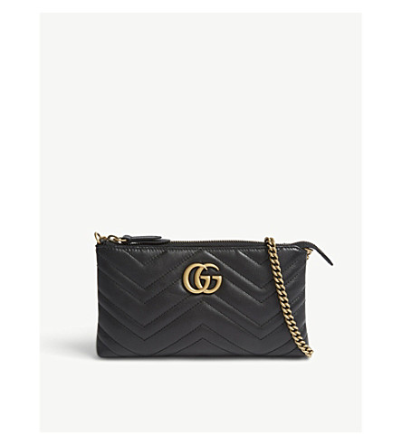 GUCCI GG 小绗缝皮革钱包在链子 (黑