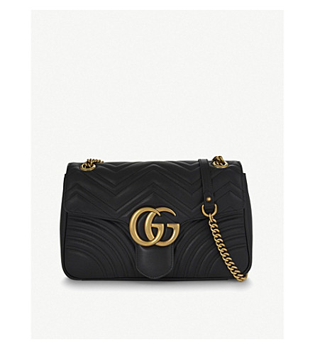 GUCCI GG Marmont medium leather shoulder bag (Black