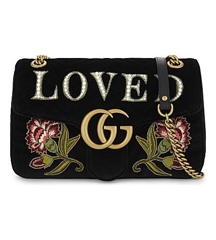 GUCCI GG Marmont embroidered velvet shoulder bag (Black