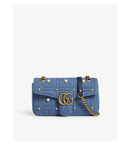 GUCCI Marmont matelassé denim cross-body bag (Denim