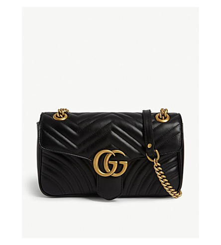 GUCCI Marmont leather shoulder bag (Black