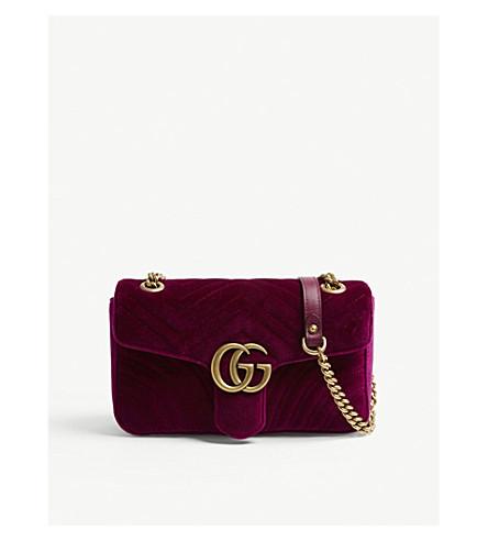 GUCCI Marmont small velvet shoulder bag (Fuschia