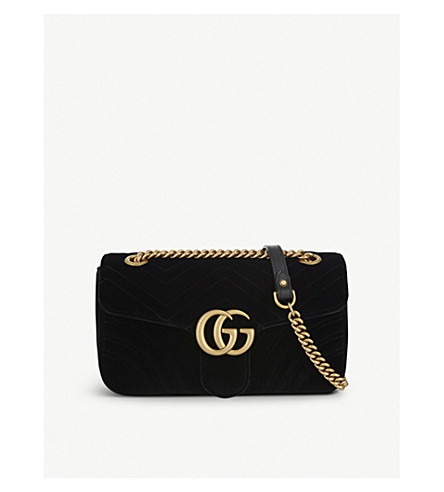 GUCCI Marmont small velvet shoulder bag (Black